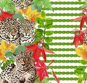 Leoparder och blommor — Stockvektor