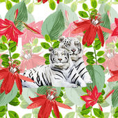 A pair white tigers and flowers — Stock Vector