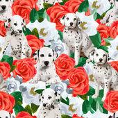 Dalmatins and flowers — Wektor stockowy