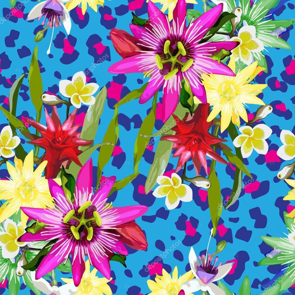 Flores tropicales vector de stock 45419115 depositphotos - Flores tropicales fotos ...