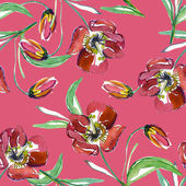 Red tulip seamless pattern — Stock Photo