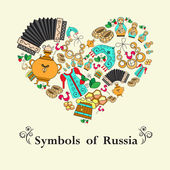 Stylized heart with symbols of Russia — Vector de stock