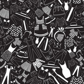Pattern with ladies wear in black-and-white palette — Stock Vector