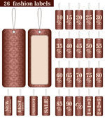 Set of the 26 fashion labels in brown color — Stock Vector