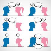 Conversation between man and woman — Stock Vector