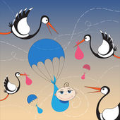 Storks and baby with parachute — Stock Vector