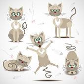 動きと感情で漫画猫 — ストックベクタ