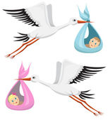 Storks with boy and girl — Stock Vector