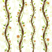 Tree branch with flowers and leaves on a white background — Stock Vector