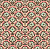 Vector seamless texture. Endless background with decorative elements. Colorful vector background for use in design. Use for wallpaper, pattern fills, web page. Background in Russian style — Stockvector