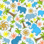 Vector pattern with elephants, palms and sun — Stock Vector