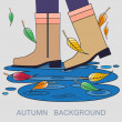 Vector illustration with autumn boots and puddle — Stock Vector #51188489