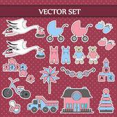 Vector set on children's theme — Stock Vector