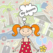 Hand drawn illustration with girl and her dreams — Stock Vector