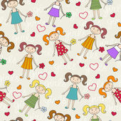 Vector pattern with girls for use in design — Stock Vector