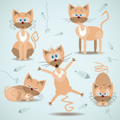 Vector illustration with set of ginger cats — Stock Vector