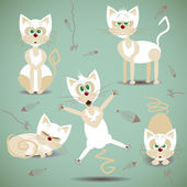 Vector illustration with set of white cats — Stock Vector