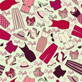 Vector pattren with women's clothing — Stock Vector