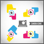 Framing hands camera icon set — Vector de stock