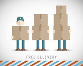 Delivery men with boxes — Stock Vector