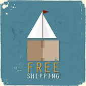 Cargo boat made of cardboard box — Stock Vector