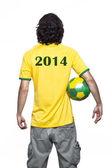Man with brazil jersey — Stock Photo
