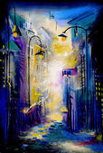 Osvětlené ulice — Stock fotografie