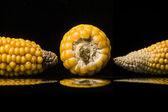 Corn, cob, yellow, ripe, copy space, food, black — Stock Photo