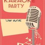 Karaoke retro poster — Stock Vector