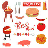 BBQ party elements — Stock Vector