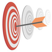 Darts target with arrow — Stock Vector