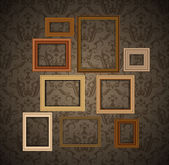 Frames on vintage wall — Stock Vector