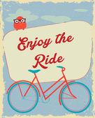 Cartellonistica di biciclette d'epoca — Vettoriale Stock