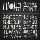 ALOHA SUMER HAND DRAWN FONT - chalkboard — Stock Vector
