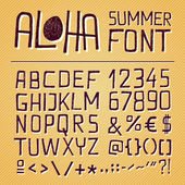 ALOHA SUMMER HAND DRAWN FONT - yellow background — Stock Vector