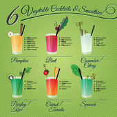 SIX FRESH VEGETABLE COCCTAILS & SMOOTHIES — Stock Vector