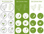 Bio Poultry meat parts Icons — Stock Vector
