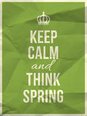 Keep calm and thing spring quote — Stock Vector