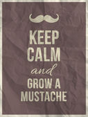 """Keep calm and grow a mustache"" quote — Stock Vector"