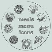 Meals menu elements - icons set 2 — Stock Vector