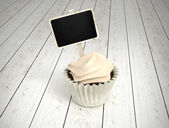 Gift Cupcake With Blank Chalkboard Signboard Label On White Wood — Stock Photo