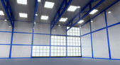 Interior of a empty warehouse with blue colour construction — Stock Photo