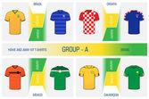 Set of nationals football uniform - group A — Stock Vector