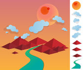 Illustration of geometric landscape with river betwen hills — Stockvector