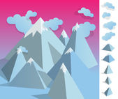 Illustration of geometric iceberg mountaun landscape — Stockvector