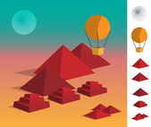 Illustration of geometric landscape pyramids on dessert — Stockvector