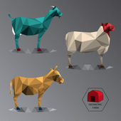 Colour full geometric illustration of medium farm animals — Vector de stock