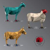 Colour full geometric illustration of medium farm animals — Stock Vector