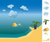 Illustration of geometric sea coast landscape — Stock Vector