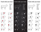 Fresh milk cow meat parts Icons for packaging and info-graphic 1 — Stock Vector